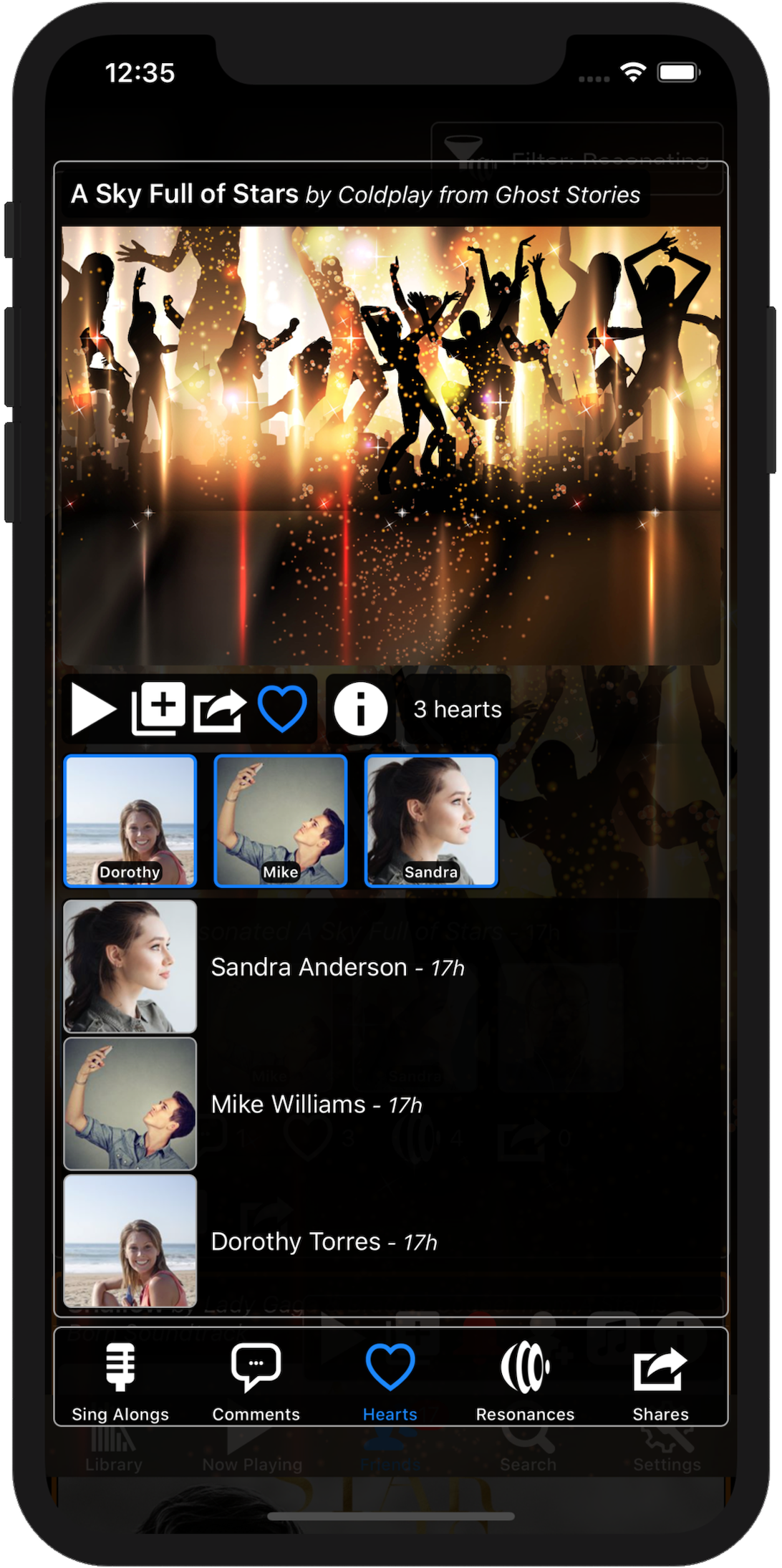 Image showing the friends who have heart the song on an iPhone