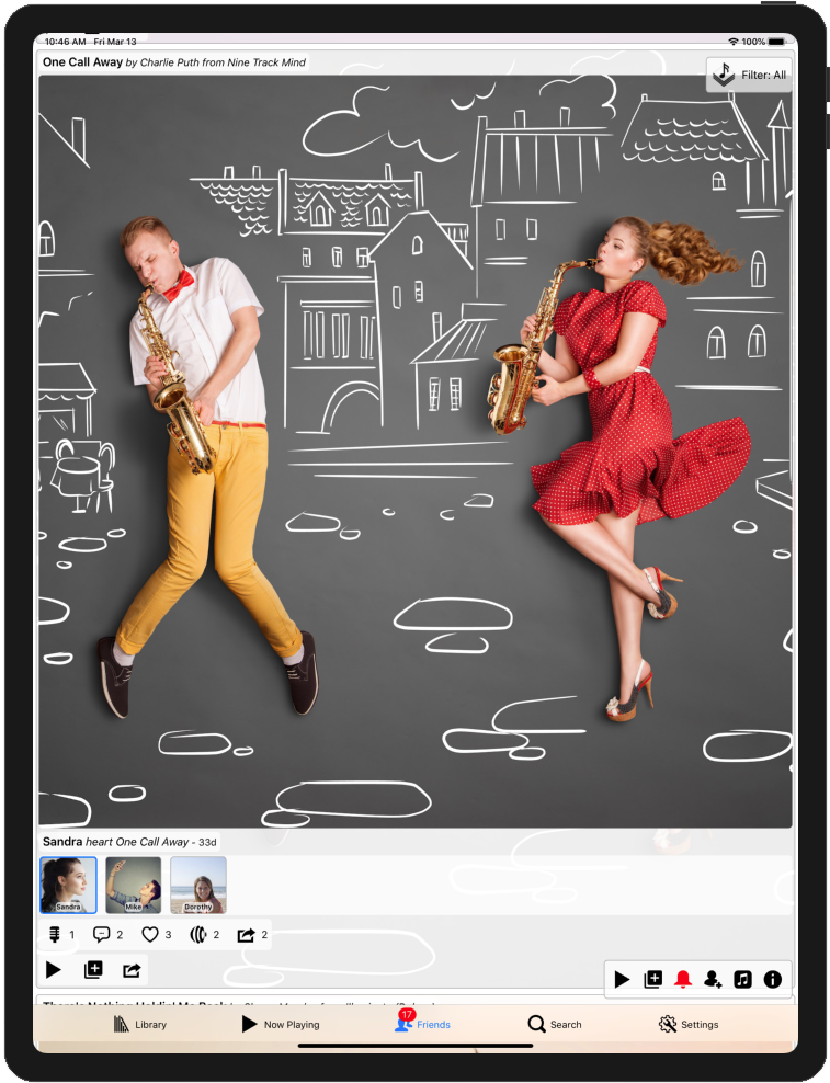 Image for the Resonance (Let's Resonate) app's Music feed on the iPad showing a user's comment on a song and another user's reosonte for a different song