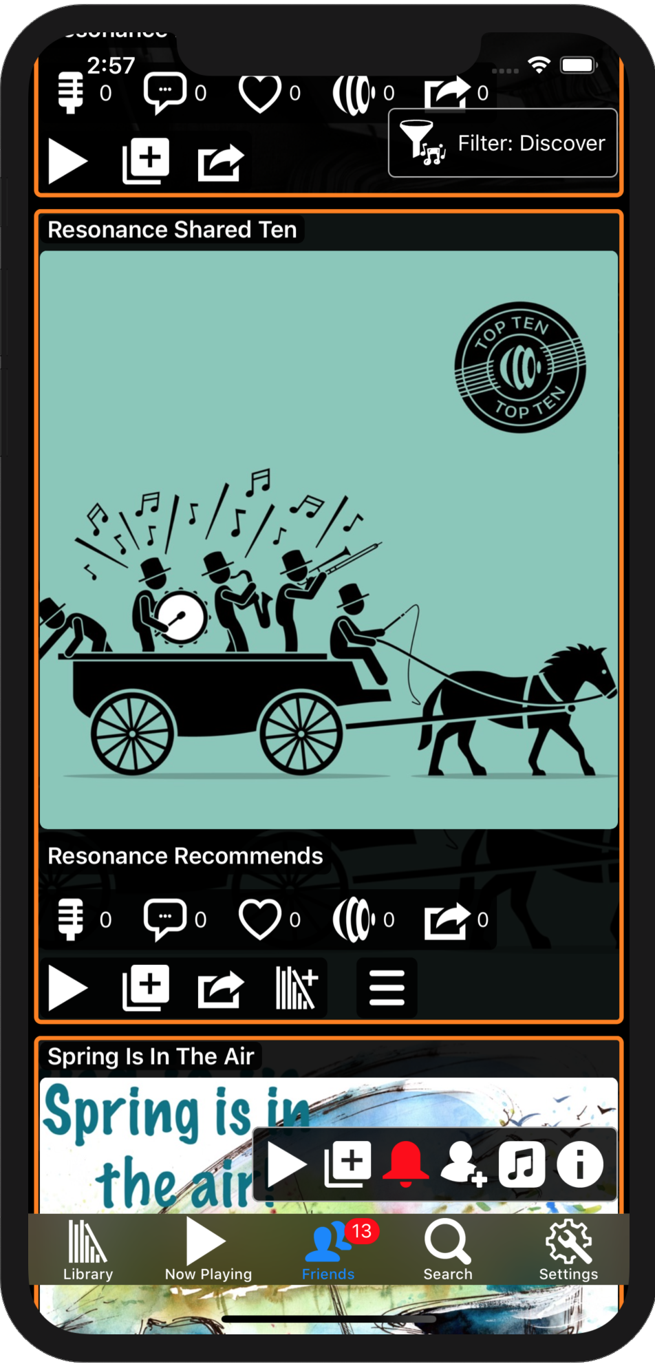Image showing the Resonance recommendations Now Playing playlist in the music feed on an iPhone