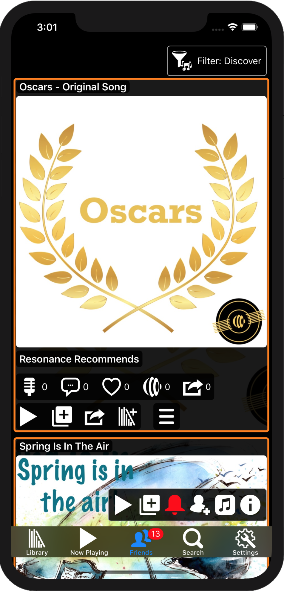 Image showing the an event themed Oscars playlist for Academy Awards in the music feed on an iPhone