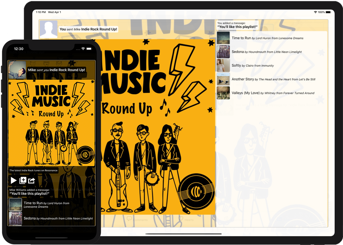 Image showing a song shared by a friend on an iPhone and another screen showing sent shares, received shares and reshares for the song on an iPad
